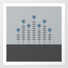 Spring Shoots (Charcoal Black, Dove Grey, Dusk Blue) Art Print