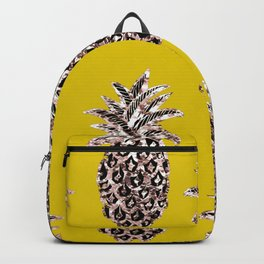 Gold Pineapples on mustard Backpack