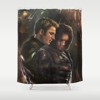 bucky Shower Curtains featuring Cap and Bucky - Worth Fighting For by thecannibalfactory