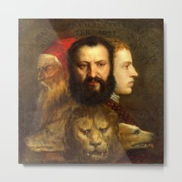 Titian The Allegory of Prudence Metal Print