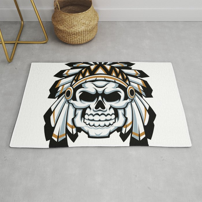 skull indian chief with feather hat Rug by marios