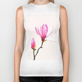 magnolia watercolor painting Biker Tank