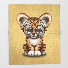 Cute Baby Tiger Cub Wearing Eye Glasses on Yellow Throw Blanket