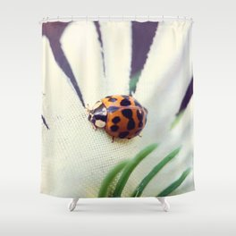 Ladybug On Flower Shower Curtain