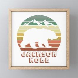 Jackson Hole Wyoming Bear Sunset Retro Gifts Framed Mini Art Print