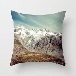 Snow-Capped Mountains Under Wispy White Clouds Throw Pillow