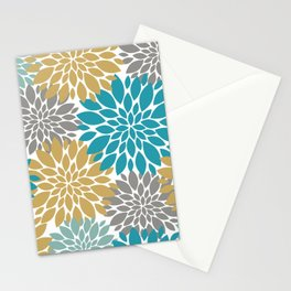 Big Floral Petals in Pale Gold, Teal, Dark an Light Grey Stationery Cards