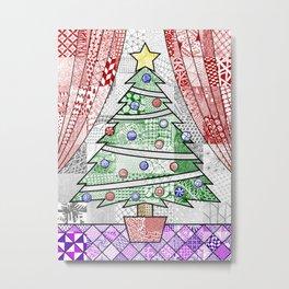 Coloured Christmas Tree Metal Print