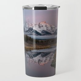 Snowy Pink Sunrise in the Tetons Travel Mug