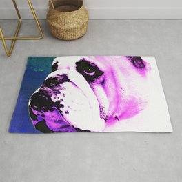 Pink Bulldog Dog Pet Pop Art by Sharon Cummings Rug