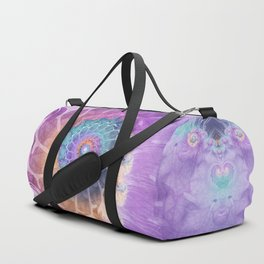 Painted Fractal Spiral in Turquoise, Purple, and Orange Duffle Bag