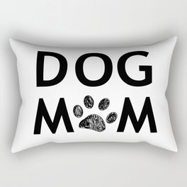 Black paw print with hearts. Dog mom text. Happy Mother's Day background Rectangular Pillow