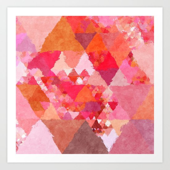 Into the heat - Pink and red watercolor Triangle pattern Art Print