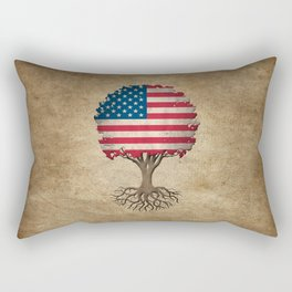 Vintage Tree of Life with Flag of The United States Rectangular Pillow