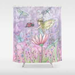 A Friendly Encounter Fairy and Ladybug Art by Molly Harrison Shower Curtain