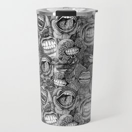 BITE ME roses and orchids BLACK WHITE Travel Mug