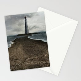 Cloudy seascape with an older lighthouse Stationery Cards
