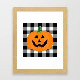 Halloween Jack O'Lantern Buffalo Check Framed Art Print
