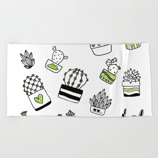 Cactus pattern Beach Towel