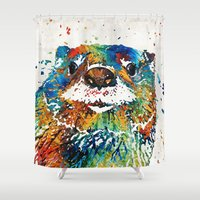 otters Shower Curtains featuring Otter Art - Ottertude - By Sharon Cummings by Sharon Cummings