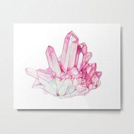 Rose Quartz Crystal Metal Print