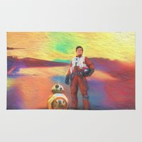poe Area & Throw Rugs featuring Poe Dameron by DisPrints