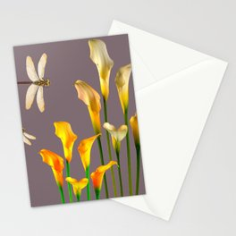GOLD CALLA LILIES & DRAGONFLIES ON GREY Stationery Cards