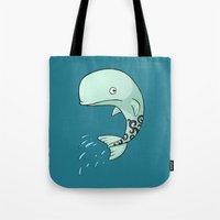 the whale Tote Bags featuring Whale by Freeminds