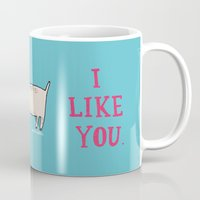 white Mugs featuring I Like You. by gemma correll