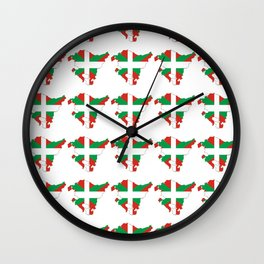 Flag of Euskal Herria 2 -Basque,Pays basque,Vasconia,pais vasco,Bayonne,Dax,Navarre,Bilbao,Pelote Wall Clock