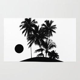 Tropical Island Sunset Scene Illustration Rug