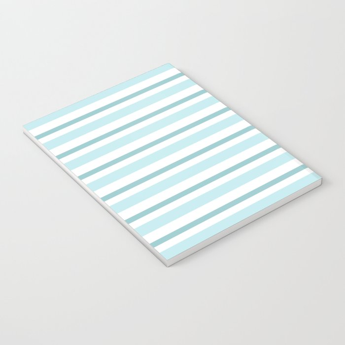 Stripes Lines horizontal - different colors of blue aqua #Society6 Notebook