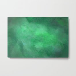 Abstract Watercolor Blend 2 Deep Dark Green and Light Green Metal Print