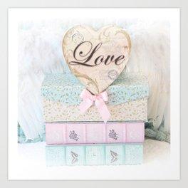 Love Heart Books Art Print