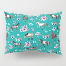 Horse Pattern, Floral Print, Turquoise, Little Girls Room, Horses Pillow Sham