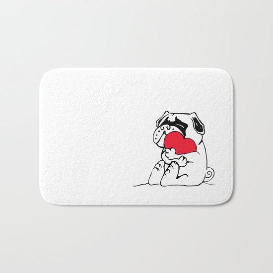 Pug Heart Bath Mat