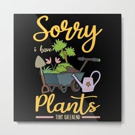Gardener Plants Tomato Watering Can Saying Gift Metal Print