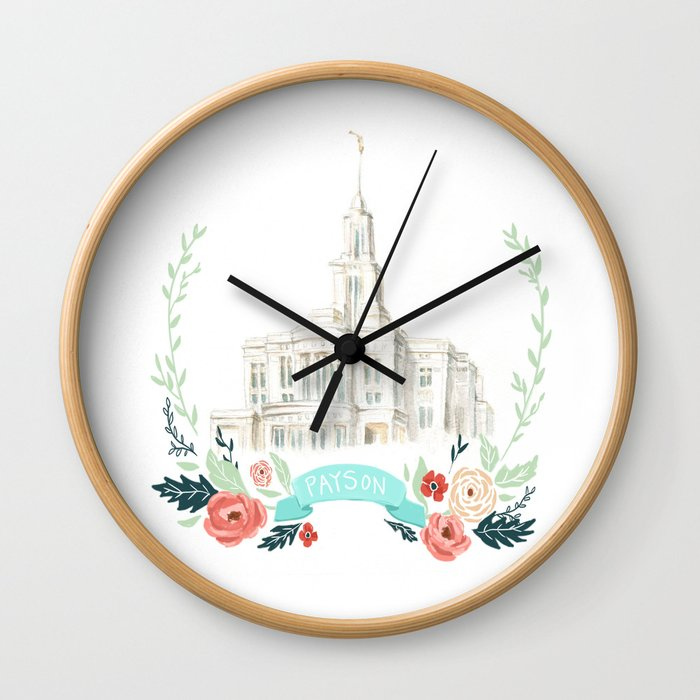 LDS Payson Temple Watercolor painting with flower wreath  Wall Clock
