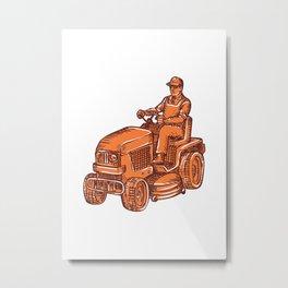 Gardener Ride-On Mower Etching Metal Print
