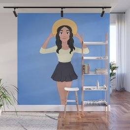 Girl With Sun Hat Wall Mural