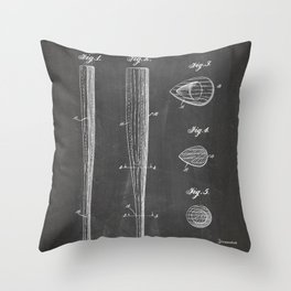 Baseball Bat Patent - Baseball Art - Black Chalkboard Throw Pillow