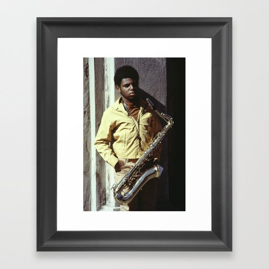 Sax Player in New Orleans Framed Art Print