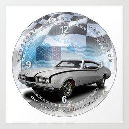 "1968 Oldsmobile Cutlass Hurst Decorative 10"" Wall Clock (027ac)  Art Print"