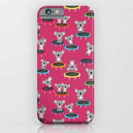 Koala Gymnasts On Trampolines Pattern On Pink iPhone Case