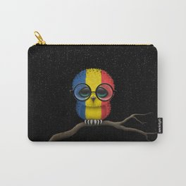 Baby Owl with Glasses and Romanian Flag Carry-All Pouch