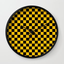 Black and Amber Orange Checkerboard Wall Clock