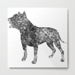 Pit Bull Dog Watercolor Art Metal Print