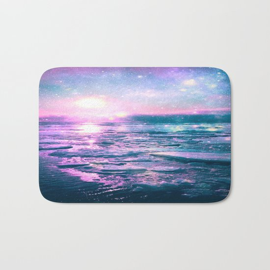 Mystic Waters Vibrant Pink Blue Lavender Bath Mat