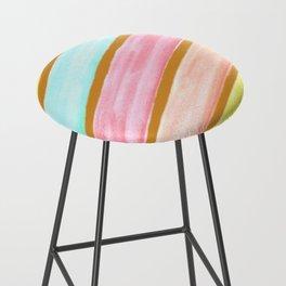 Retro Watercolor Stripes  Bar Stool