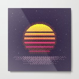 1980s Neon Sunset Metal Print
